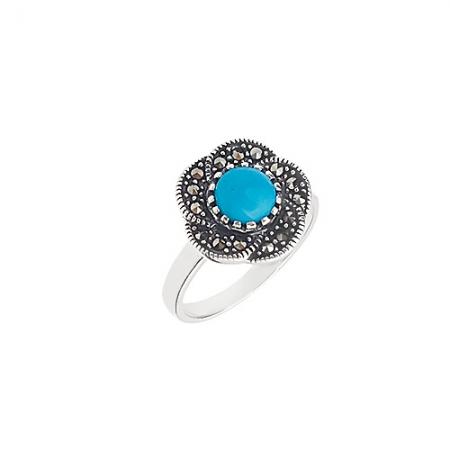 Victorian blue flower srebrni prsten