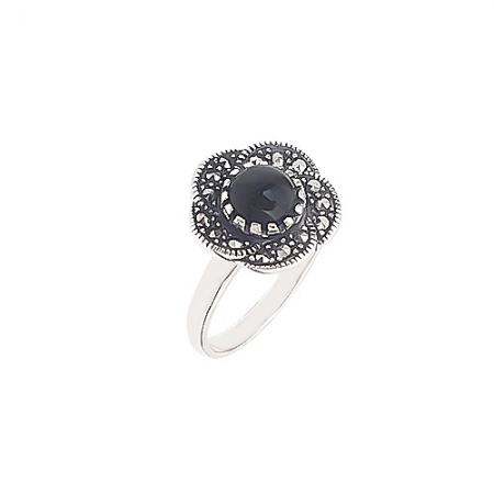 Victorian black flower srerbni prsten