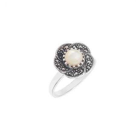 Victorian white flower srebrni prsten