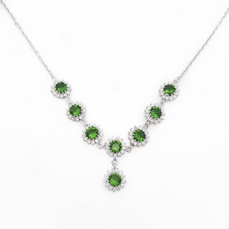 Green love srebrna ogrlica