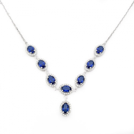 Blue ellipse love srebrna ogrlica