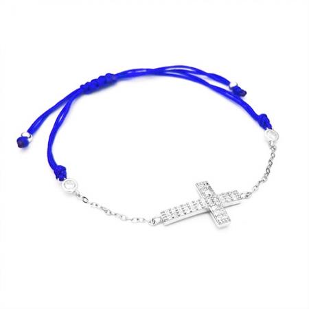CROSS BLUE narukvica sa špagicom i srebrnim privjeskom