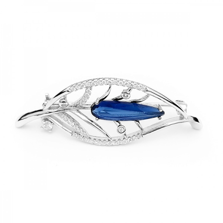 LEAF DROP BLUE srebrni broš Silver for