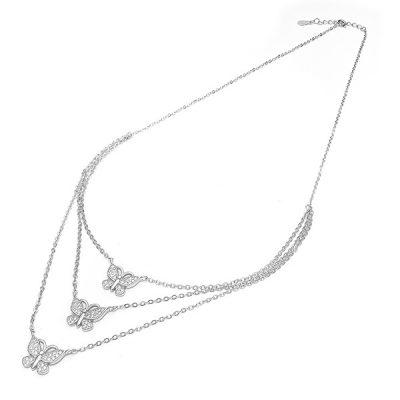 Elegant butterfly srebrna ogrlica