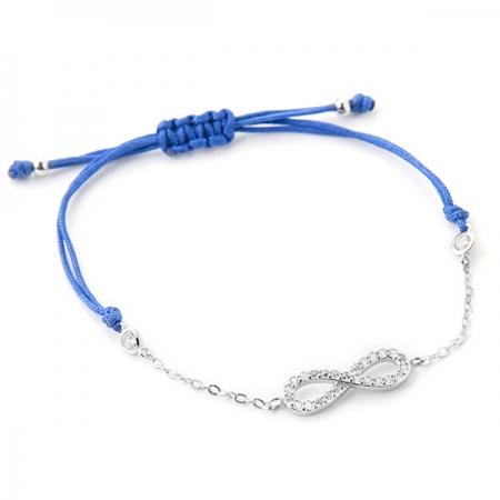 INFINITY BLUE narukvica sa špagicom i srebrnim privjeskom