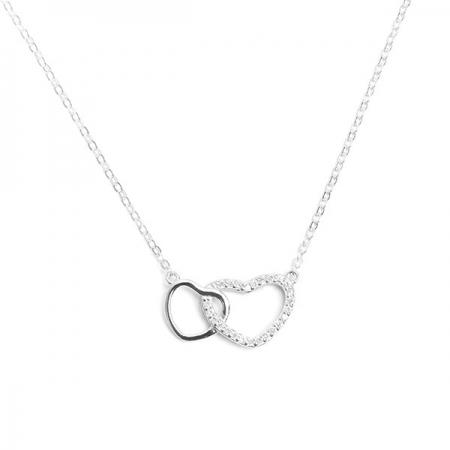 TWO HEARTS IN LOVE srebrna ogrlica