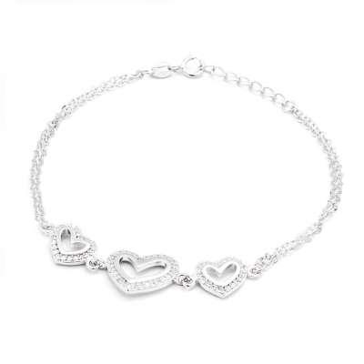 Hearts in Line srebrna narukvica Silver for you