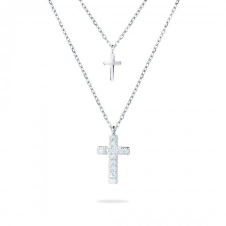 DOUBLE CROSS srebrna ogrlica