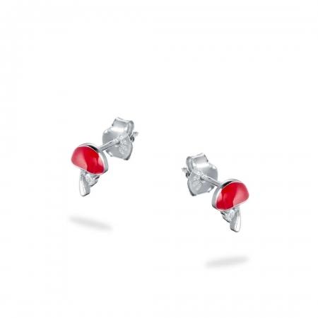 RED MUSHROOMS srebrne naušnice