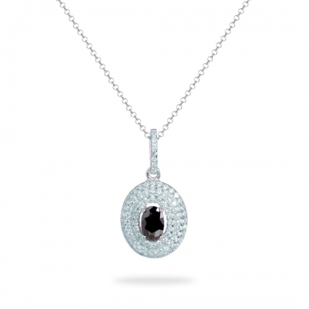 Black Oval srebrna ogrlica
