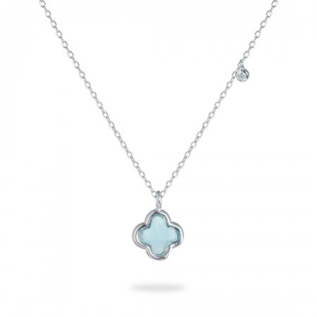 Bluish Clover srebrna ogrlica