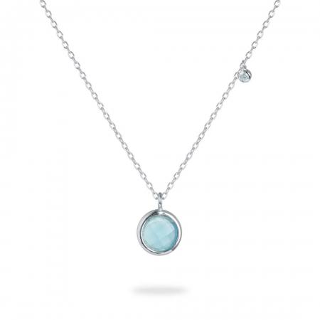 Bluish Round srebrna ogrlica