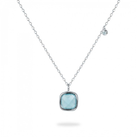 Bluish Square srebrna ogrlica