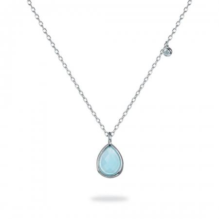 Bluish Teardrop srebrna ogrlica