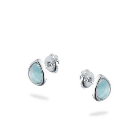 Bluish Teardrops srebrne naušnice