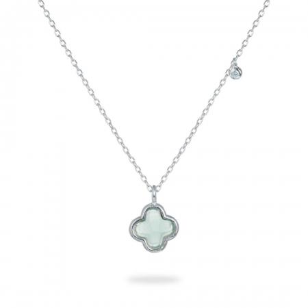 Greenish Clover srebrna ogrlica