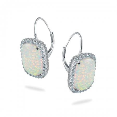 Opal Squares srebrne naušnice