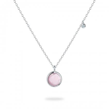 Pink Round srebrna ogrlica