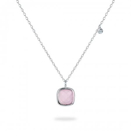 Pink Square srebrna ogrlica