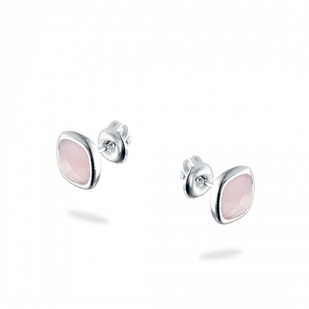 Pink squares Srebrne nausnice Silver for you
