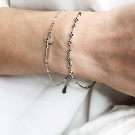 gentle rosari shiny cross srebrna narukvica silver for you