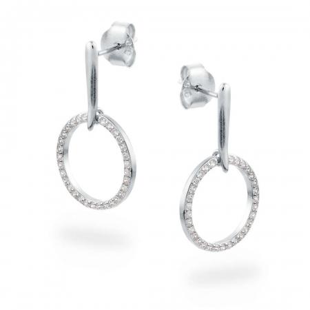 Glitter Rings srebrne nausnice Silver for you