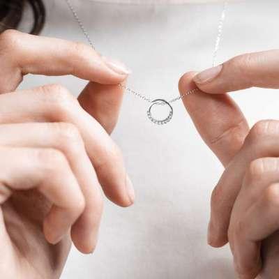 Clear circle srebrna ogrlica Silver for you