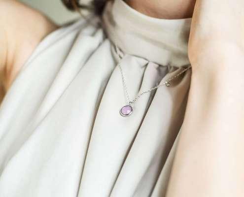 pink round srebrna ogrlica silver for you