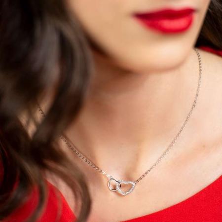 Two Hearts in love srebrna ogrlica Silver for you
