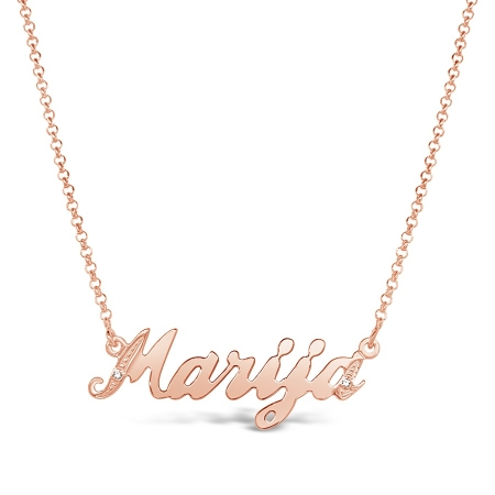 WEAR A NAME srebrna ogrlica s rozom pozlatom