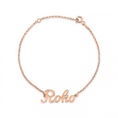LOVE THIS NAME srebrna narukvica s rozom pozlatom